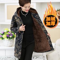 中老年妈妈冬装棉衣中长款宽松加绒加厚保暖奶奶棉服外套大码女装