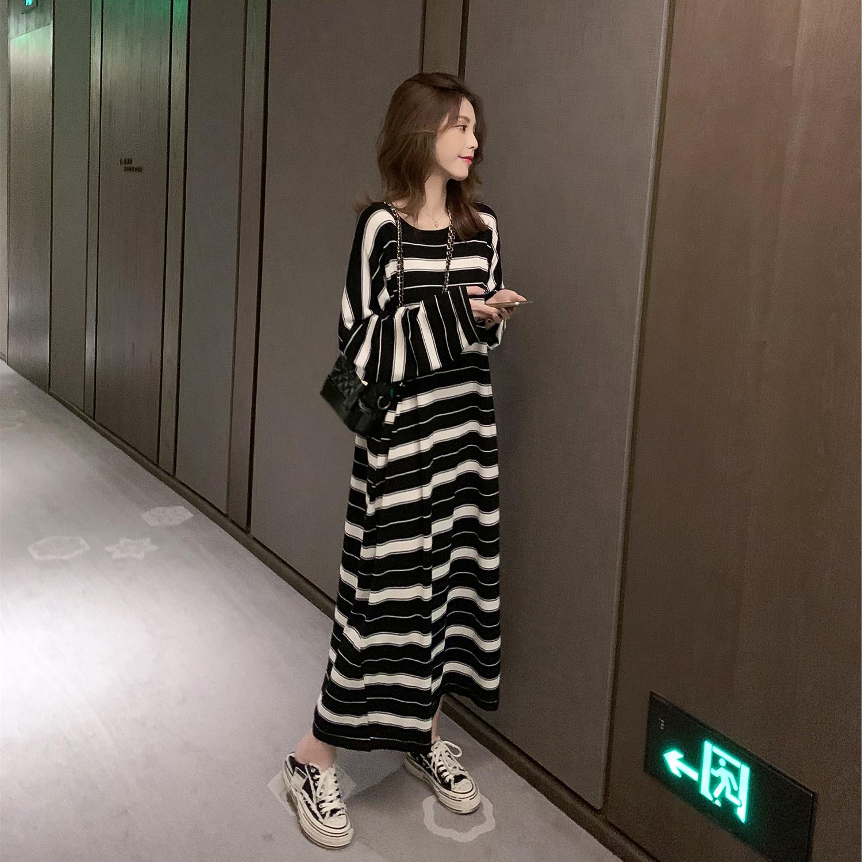 孕妇春季新款韩版中长款针织条纹连衣裙慵懒风桔梗裙宽松显瘦长裙图片