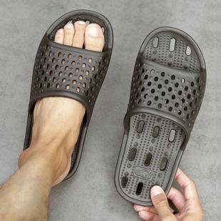 2020日系漏水速干拖鞋 女 男夏季 浴室内厚底情侣镂空简约防滑凉拖鞋