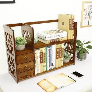 楠竹桌面收纳小书架花架置物架简易创意桌上小书架多层抽屉小柜子
