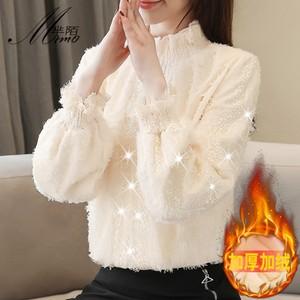 新款半高领加绒蕾丝打底衫长袖2020秋冬韩版女装保暖上衣洋气小衫