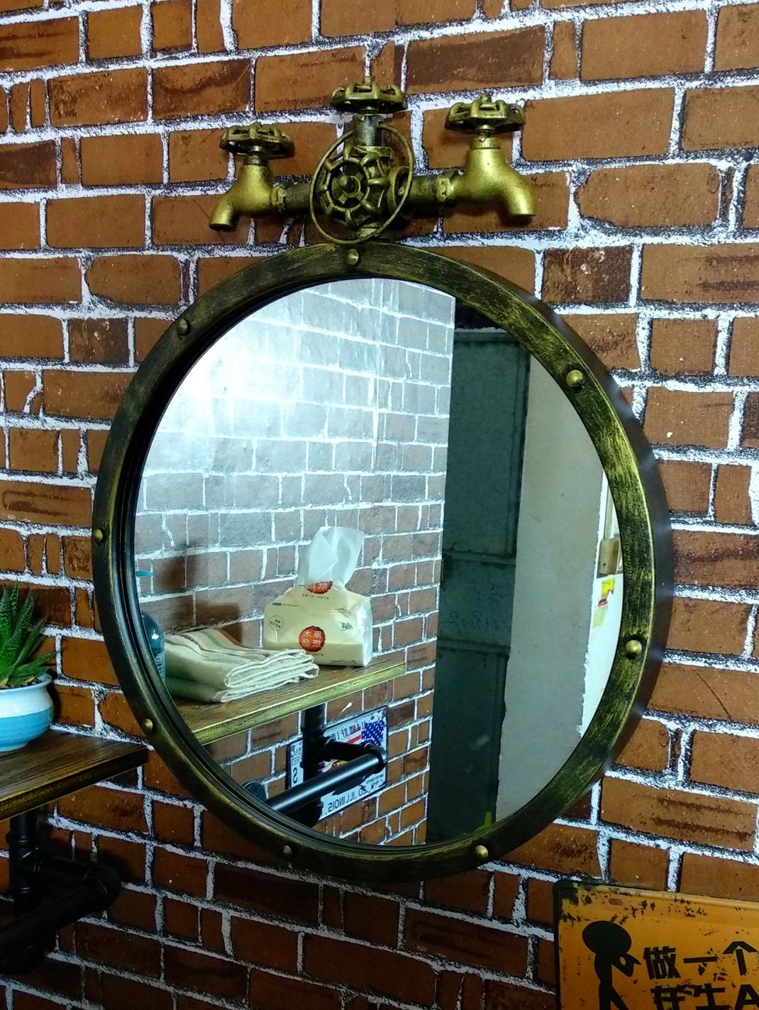 美式铁艺浴室复古工业风墙壁做旧酒吧装饰镜子餐厅洗手间圆形挂镜