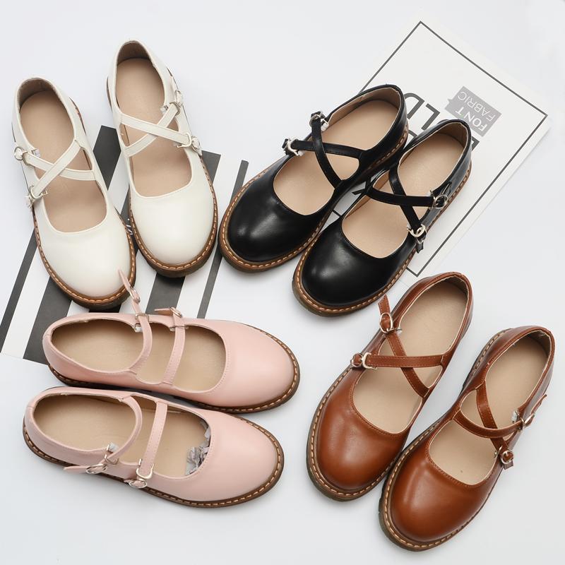 春夏新品原宿风洛丽塔女鞋日系平底鞋浅口森女玛丽珍鞋复古娃娃鞋