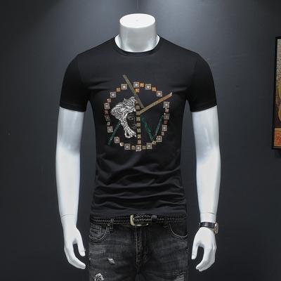 2019短袖T恤 男士烫钻大码体恤上衣 黑色货号66217款 P75