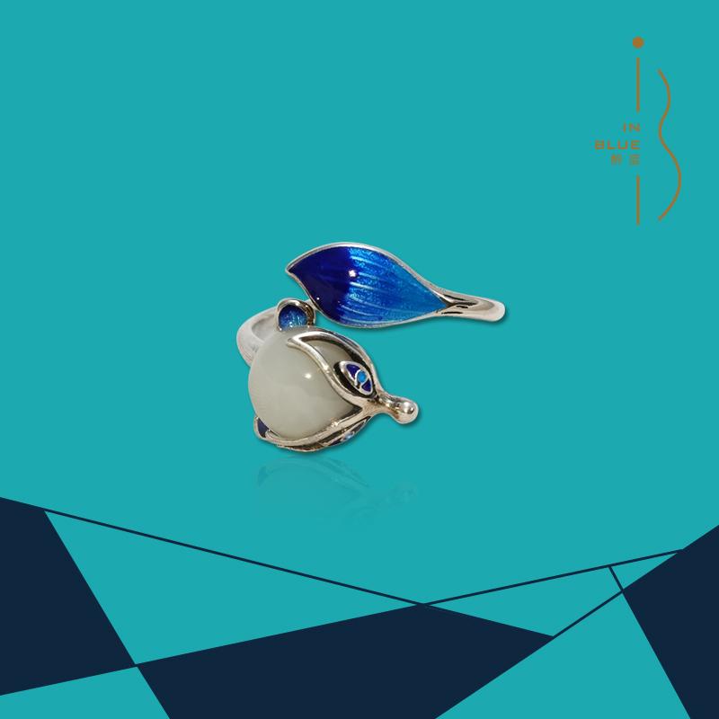 醉蓝 S925银镶石景泰蓝和田白玉戒指 招桃花转运个性复古开口指环