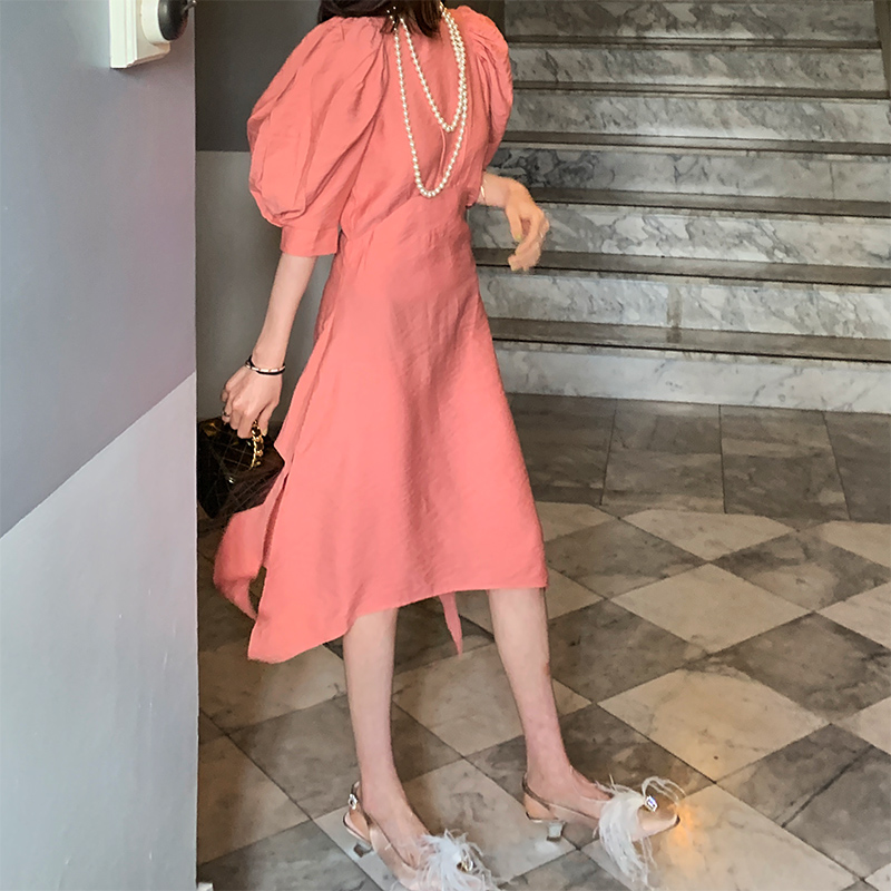 ABchic by AB法式收腰显瘦露背连衣裙女夏季新款法国小众桔梗裙子