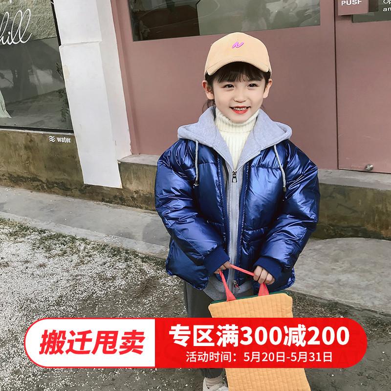 女童冬装2019新款韩版洋气宝宝外套2-3-5-9岁儿童加厚6假两件棉衣图片