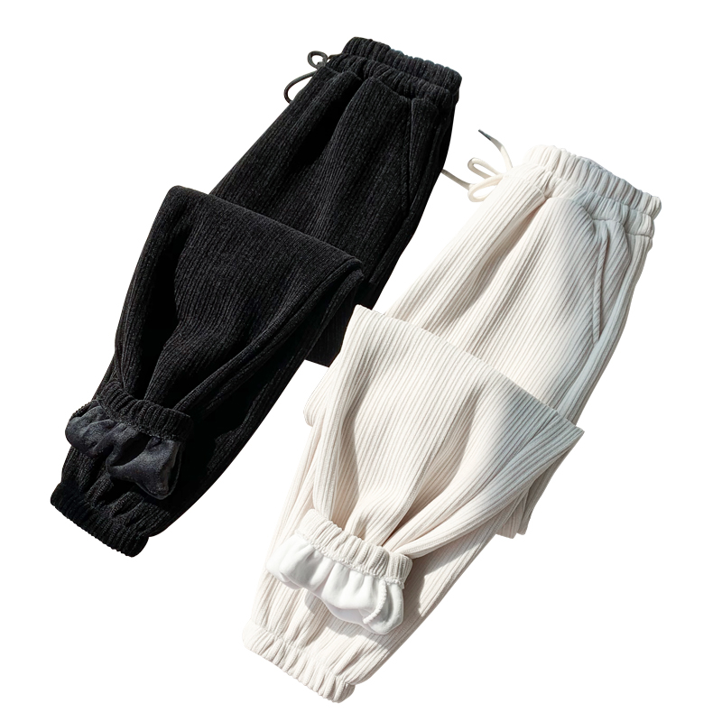 雪尼尔老爹秋冬宽松加绒休闲运动裤评价如何