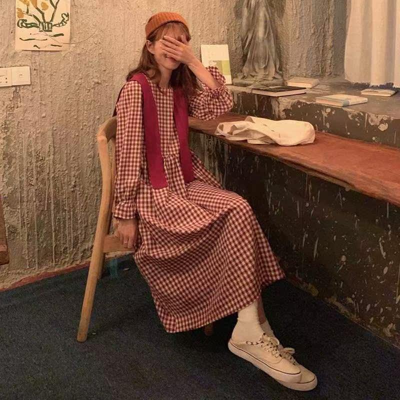 中长新款韩版宽松过膝连衣裙款复古格子裙学生百搭长袖秋季女冬