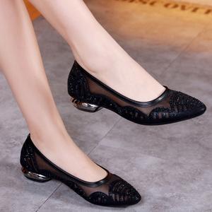 夏季女2021新款平跟凉鞋网纱软底单鞋舒适妈妈低跟透气镂空女鞋子