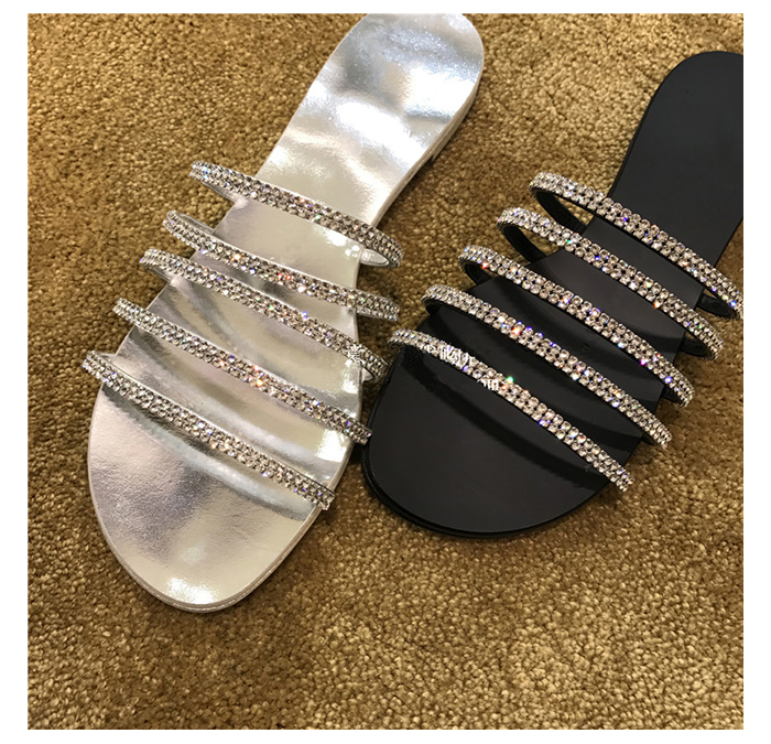 Womens xiagz new water drill flat bottom slippers one word open toe sandals silver sexy womens shoes beach shoes Roman shoes