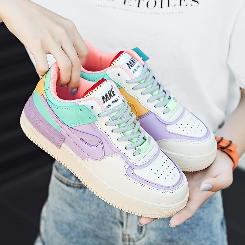 2020秋季新款aj女鞋正版af1空军一号马卡龙冰淇淋爆款板鞋女官网