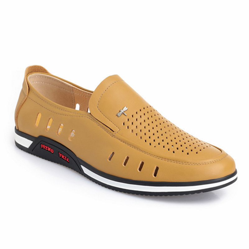 Mens summer leather overshoot with perforated mesh breathable foot wrapped cool leather shoes mens formal pure leather hollow sandals