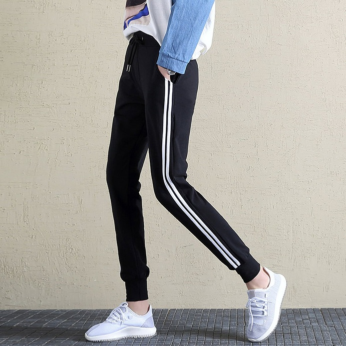 Womens Harlan elastic cotton pant pants sports leisure white stripe closure small feet and legs are thin in spring and Autumn