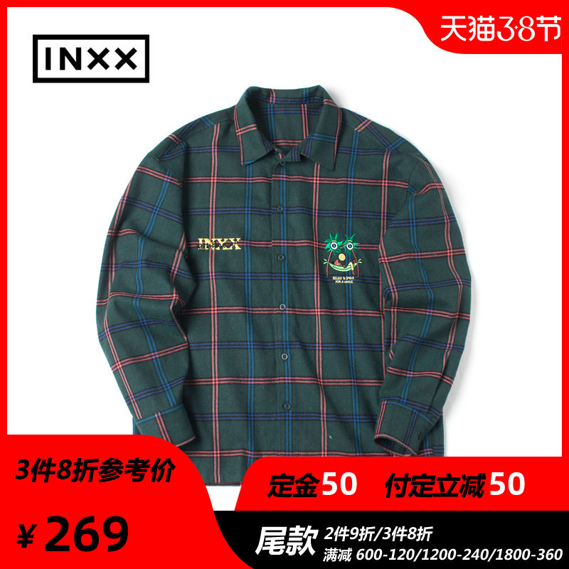38 presale stand by brand new spring couple embroidered Plaid long sleeve shirt for men and women