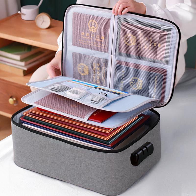 加厚证件收纳包盒家用家庭多层大容量多功能箱文件护照整理袋卡包