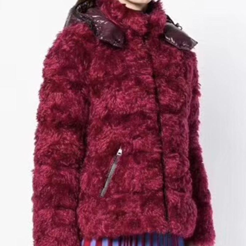 欧洲站大牌明星同款女装羽绒羊毛混纺冬款加厚外套连帽皮草夹克女
