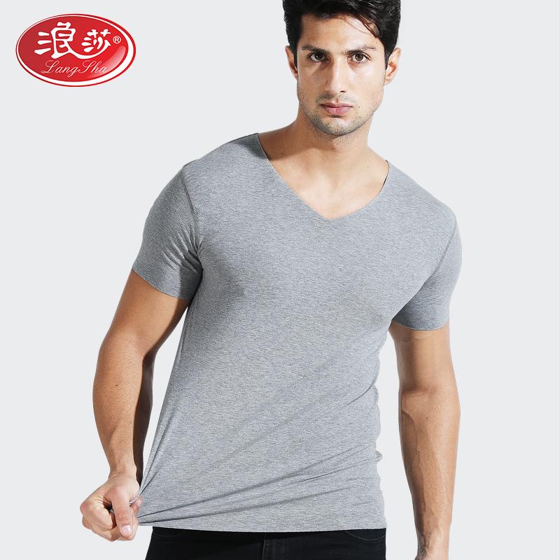 热销3件限时抢购浪莎男士无痕短袖夏季白纯色汗衫