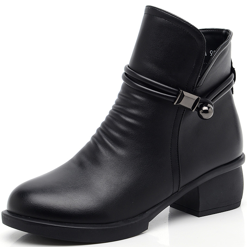 Winter women's short boots, middle heel, thick heel, mother's shoes, cotton shoes, velvet and warm middle-aged women's boots, middle-aged and old women's shoes, autumn