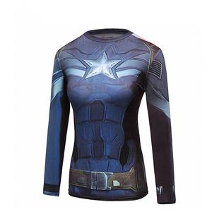 跑步恤T 户外运动速干超人长袖 高弹舞蹈瑜伽吸汗 美国队长紧身衣