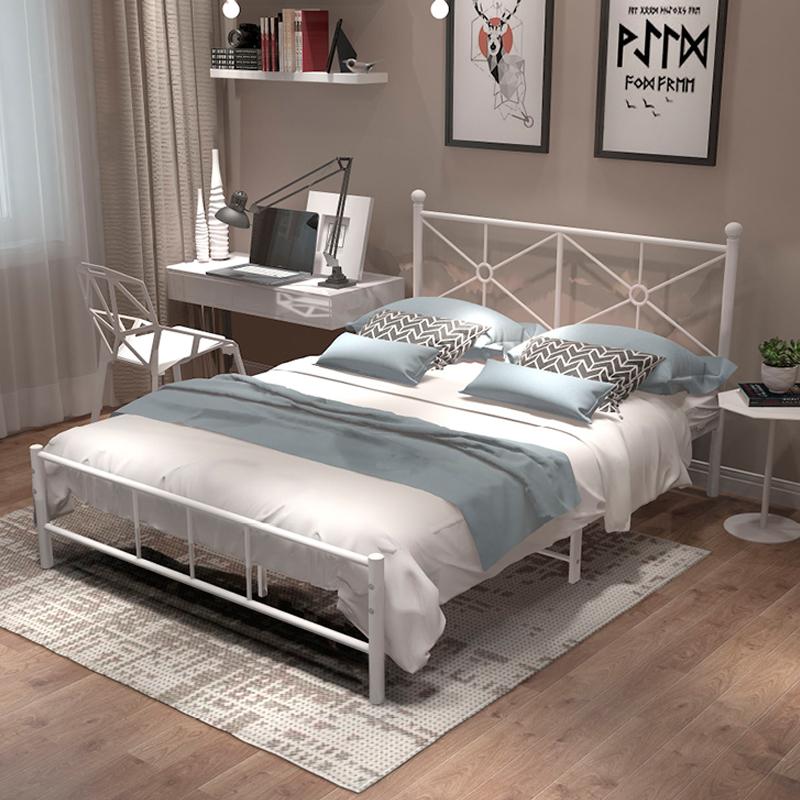 339.00元包邮北欧铁艺床1.8米双人铁床现代简约1.2米单人铁架床1.5m欧式公主床