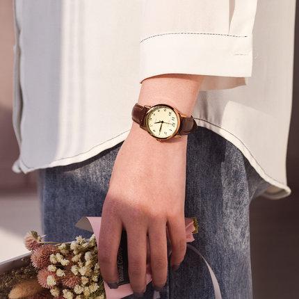 聚利时手表女 女学生韩国简约气质时尚复古皮带防水女士石英表