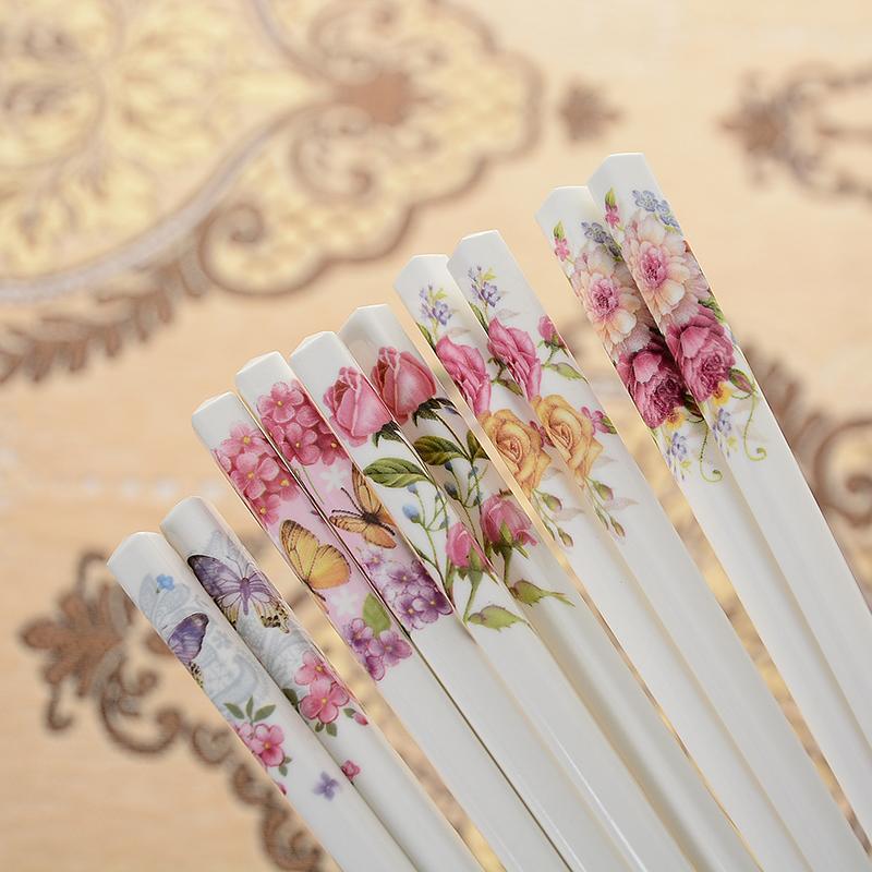 Household ivory white ceramic bone china chopsticks high temperature resistant and mildew free