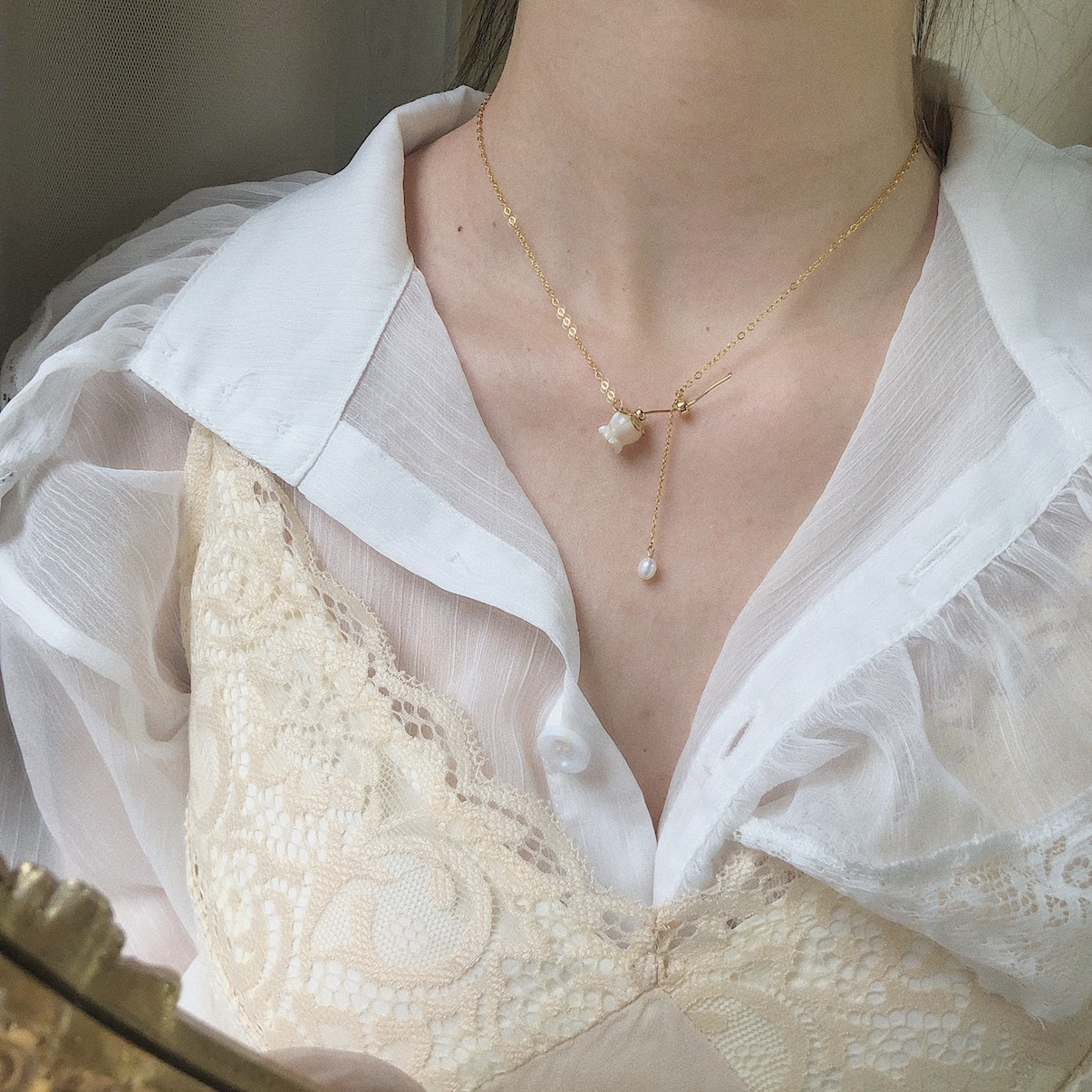 复古气质通体美国14K包金纯手工制作高级感月光玫瑰天然珍珠项链