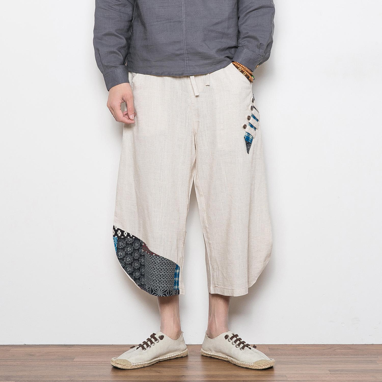 夏款中国风亚麻七分裤大裤衩沙滩裤(非品牌)