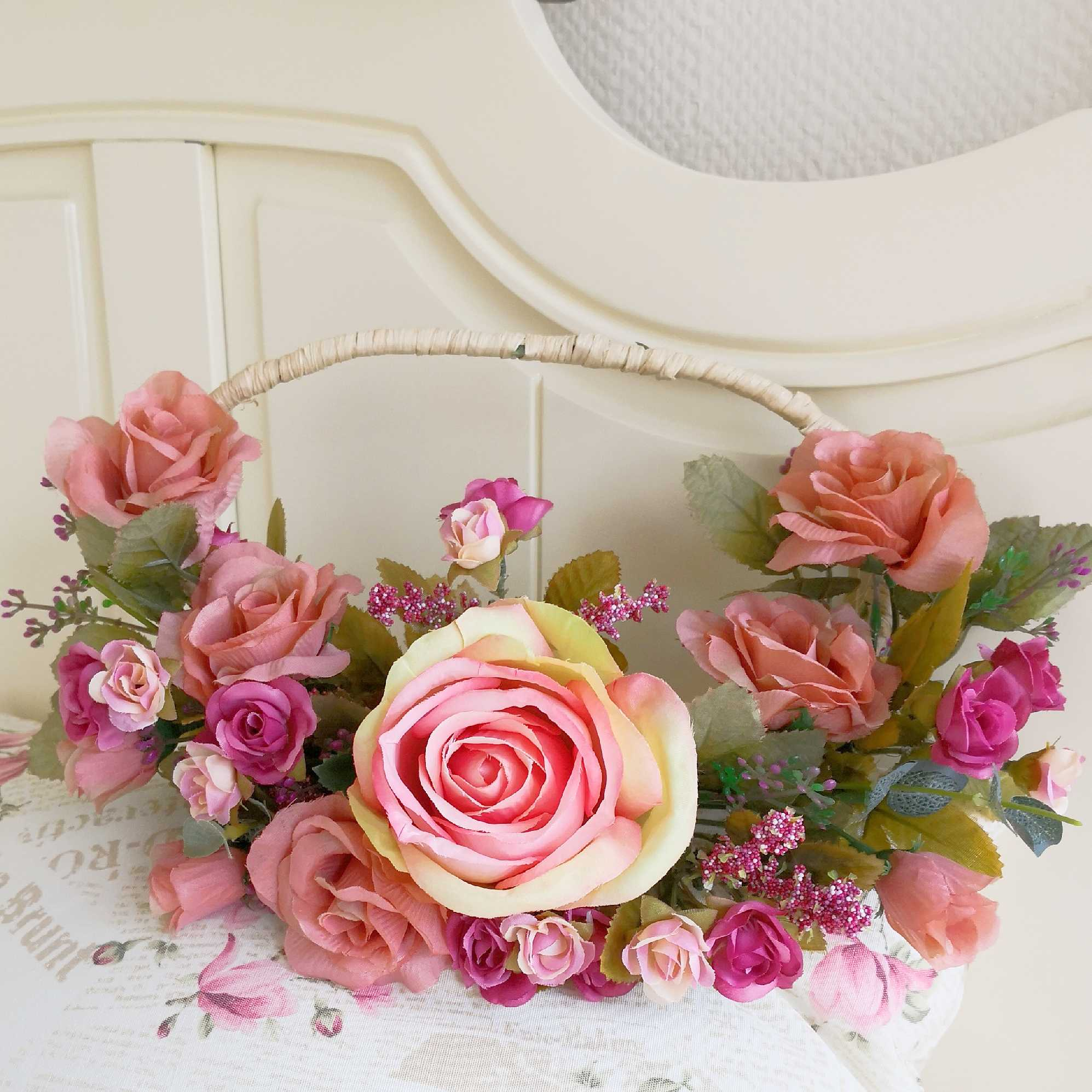 Silk flower artificial flower retro style new house wedding room boudoir home floral wreath door decoration door hanging wall decoration hand flower road guide flower