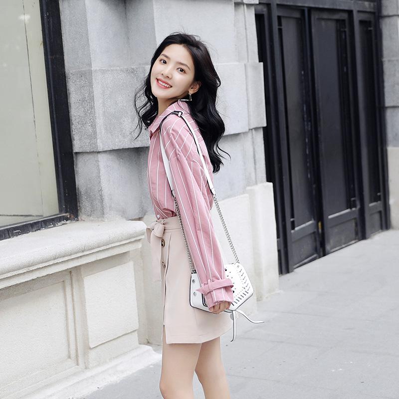 春季女生必备雪纺衬衫 蓝白条纹小清新宽松韩范衬衣
