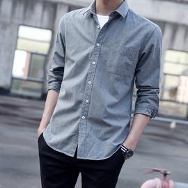 秋季牛仔衬衫男长袖韩版潮流帅气休闲寸白衬衣男士秋装上衣外套男图片