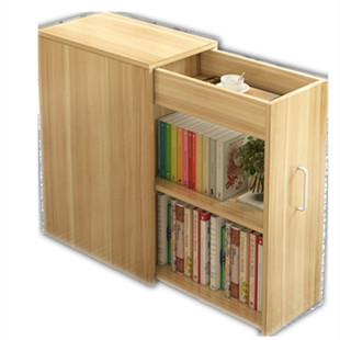 簡約現代移動帶門小書櫃A4文件收納櫃子書架儲物櫃小户型置物櫃窄