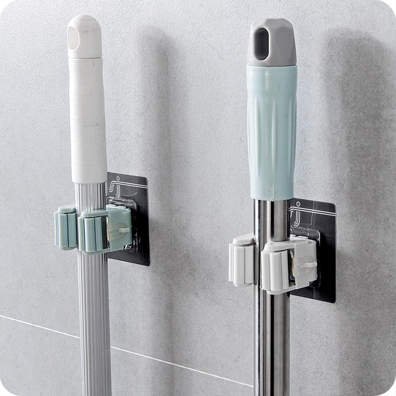 优思居 免打孔拖把挂架 卫生间壁挂拖把挂钩浴室墙上扫把挂架卡座