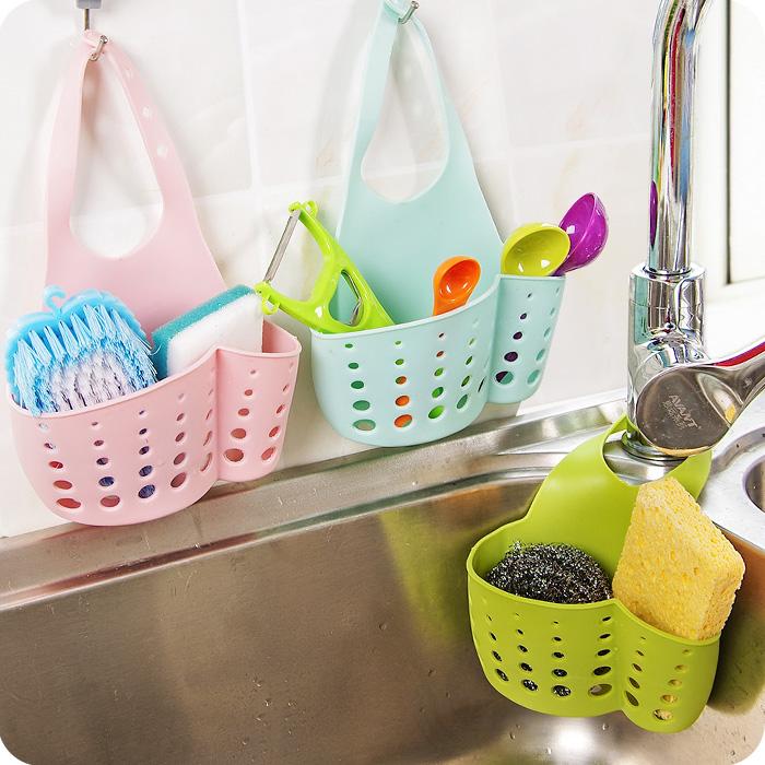 优思居厨房水槽沥水篮收纳挂篮厨房小用品水龙头挂袋置物架收纳架