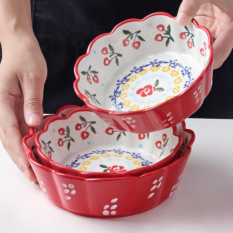 优思居 日式餐具陶瓷碗 创意手绘花边水果沙拉碗面碗家用个性饭碗