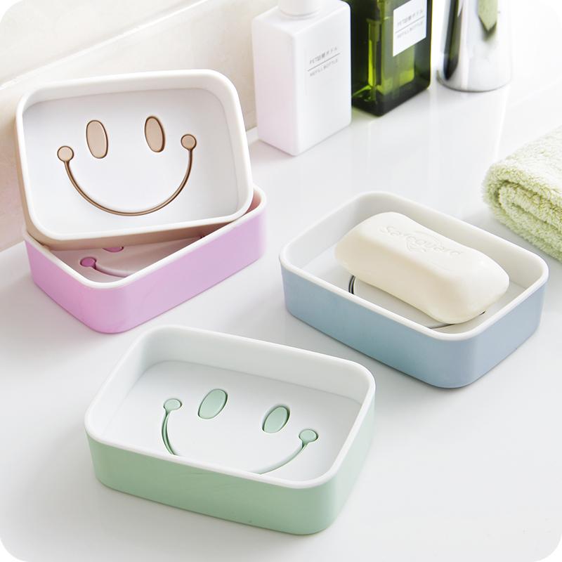 Мультики улыбка двойной дренажный туалетное мыло коробка мыть ручной работы мыльница ванная комната мыло коробка туалетное мыло лоток мыло полка