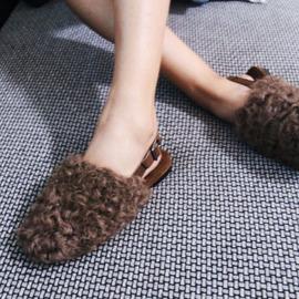 欧洲站毛拖鞋女外穿新款时尚平底真皮毛毛女鞋羊卷毛潮流包头拖鞋