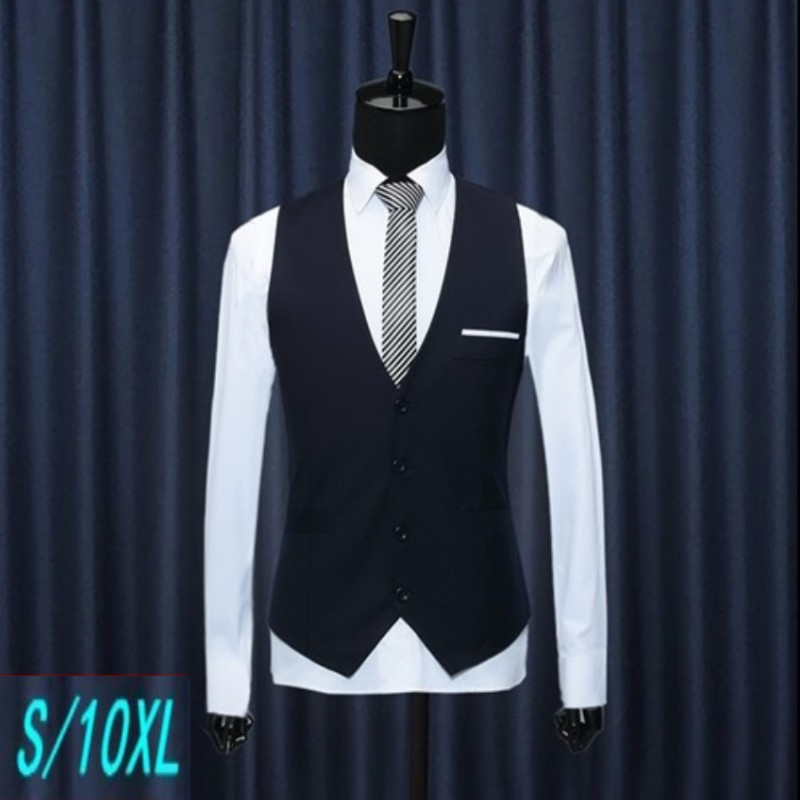 Large size fattening suit vest mens Vest slim Korean fashion suit British black best man suit horse