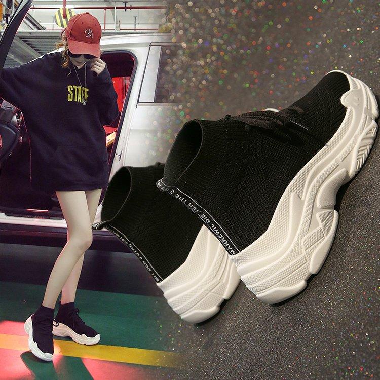 袜子鞋女韩版ulzzang百搭2021春季增高厚底休闲运动嘻哈高帮鞋潮