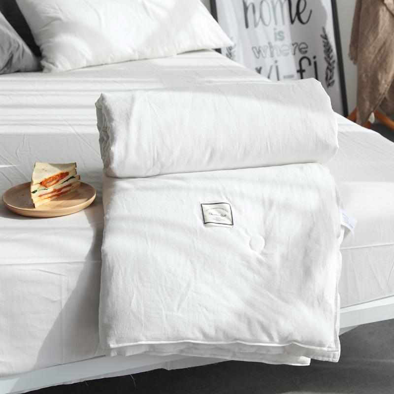 纯白色水洗棉全棉夏被空调被夏凉被简约条纹格子夏天薄被子可机洗热销44件有赠品