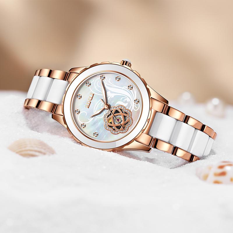 正品专柜宾利品牌女表陶瓷手表机械表时尚韩版皮带女士腕表6033