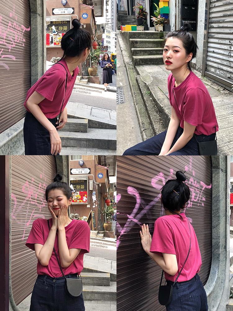 纯棉短袖梅子色2019秋季新款潮t恤(非品牌)
