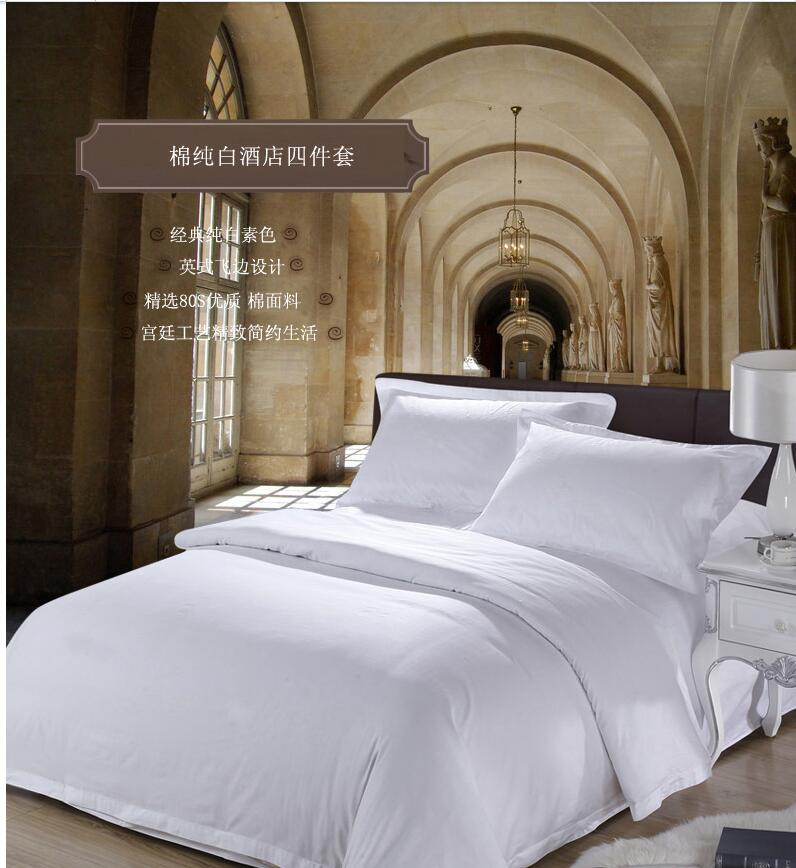 Best selling high quality Satin home textile white Hotel Chinese encryption soft smooth satin Four Piece Bedding Set