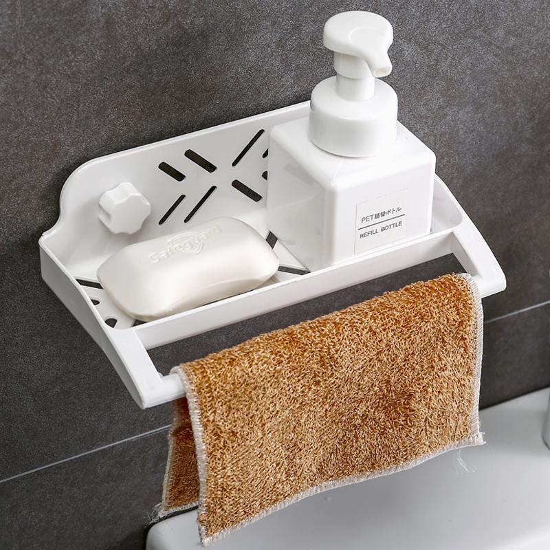 挂墙卫生间置物架免打孔吸壁式厕所壁挂洗手台浴室墙上塑料收纳架