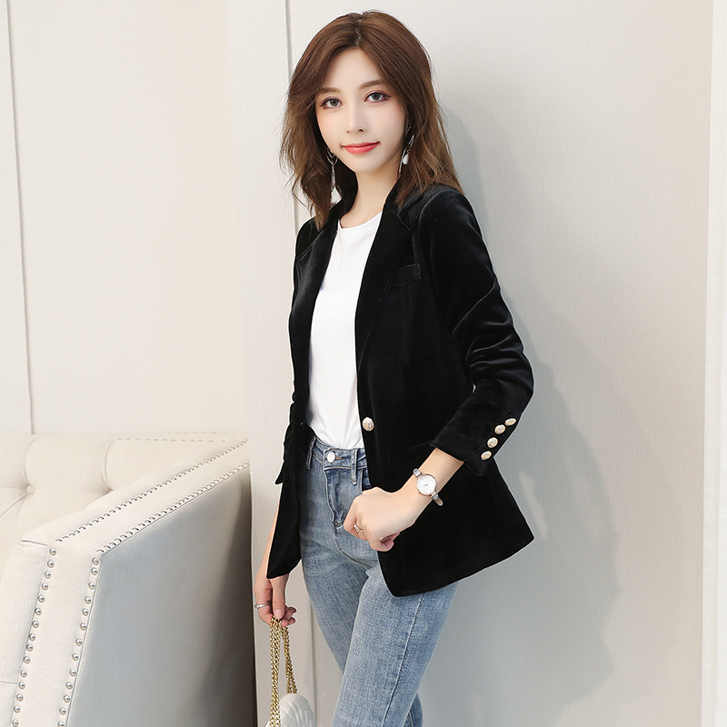 Cashmere Blazer Jacket Womens casual top short Korean small fragrance foreign velvet small suit cardigan