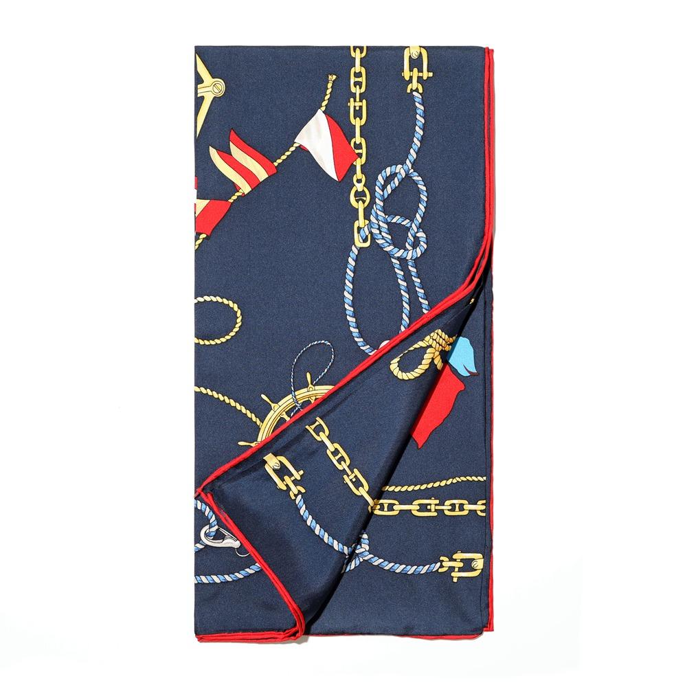 秋冬深蓝色欧美经典海军图案桑蚕丝斜纹航海大方巾女式丝巾围脖