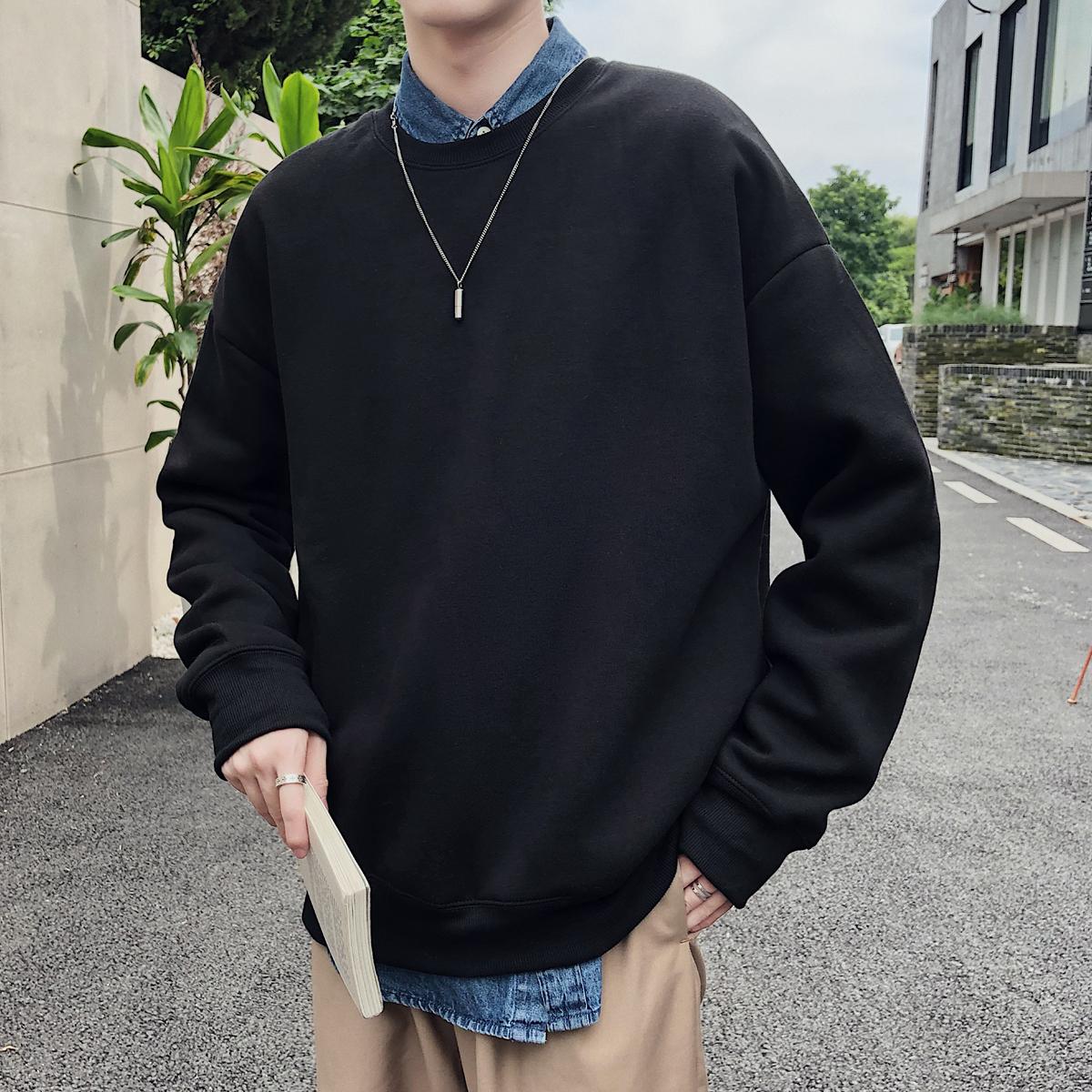 秋季港风情侣潮男韩版宽松纯色圆领卫衣外套长袖T恤W8001CP45控59