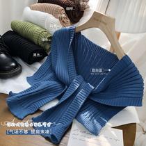 针织披肩女秋冬韩国ins超火纯色坑条围巾搭肩休闲洋气百搭小外搭