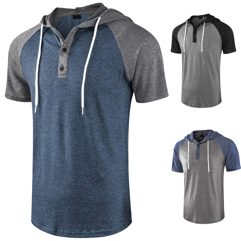 Color matching hooded short sleeve sweater daily casual raglan sleeve sports mens fitness top loose Pullover summer